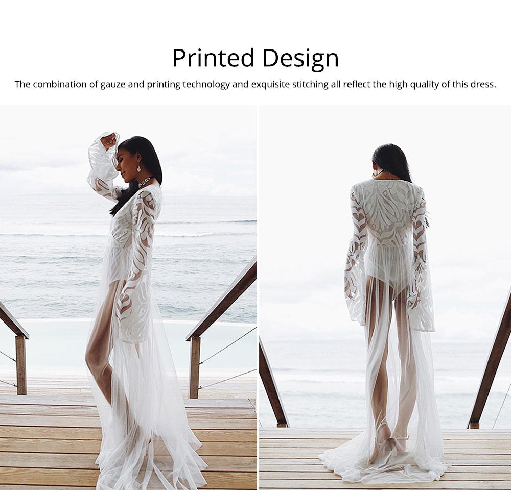 Women Lace Mesh Dress for Beach Holiday, Stylish White Floor-length Fashion Bikini Swimwear Two-piece Dress Skirt 4