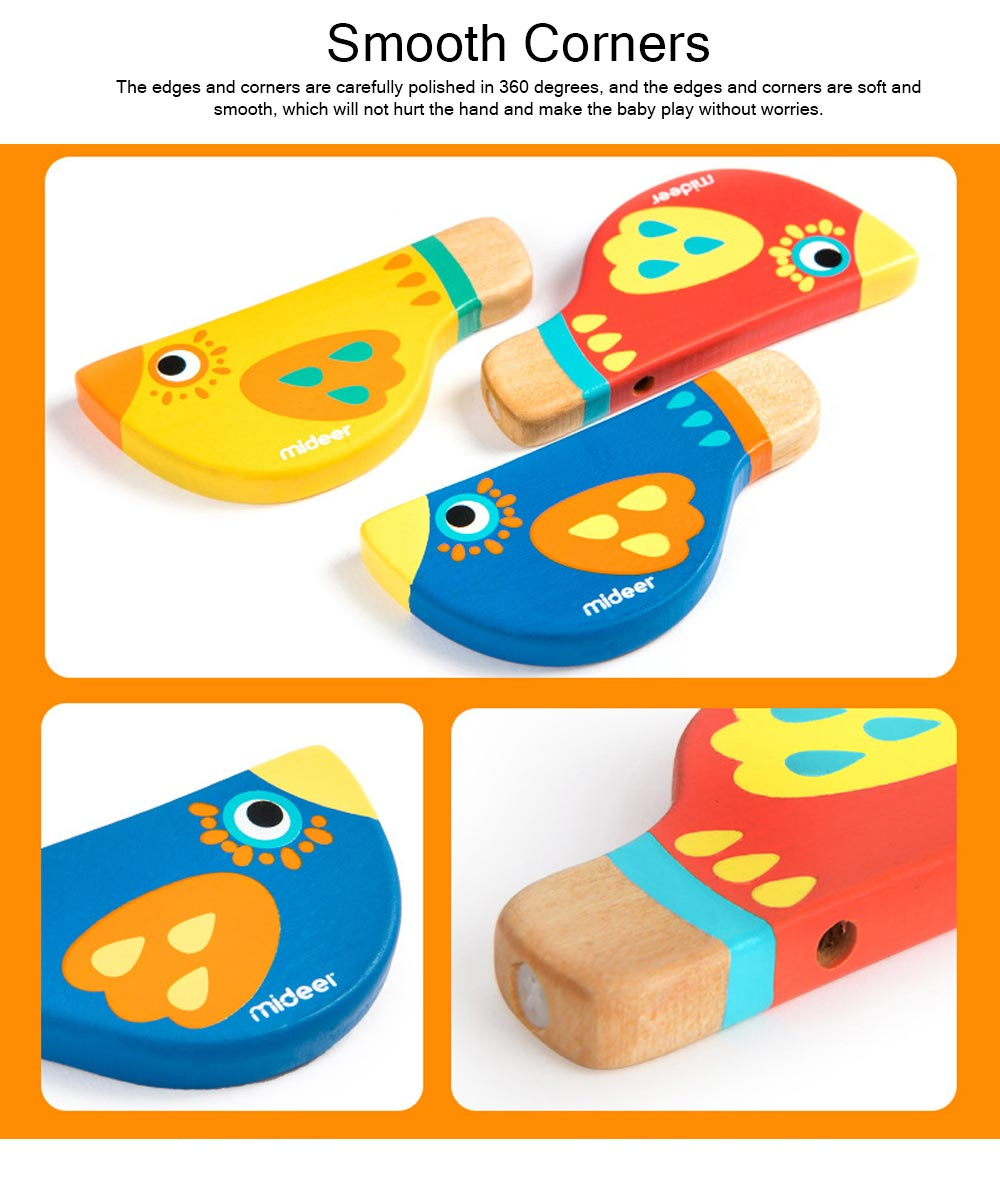 Wood Bird Shape Whistle with Colorful Healthy Paint, Play Toys for Children More than 2 Years, Smooth Corners Educational Toy 2