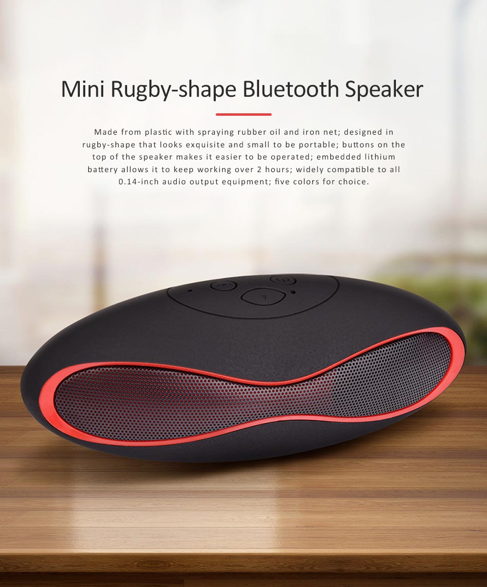 Mini Rugby-shape Bluetooth Speaker, 3D Sound Quality Speakers for Laptop, Tablets, Phones Bluetooth Wireless Speaker 0
