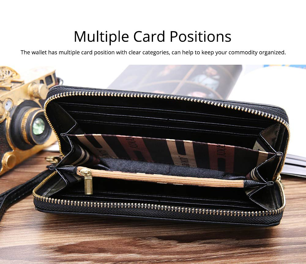 PU Leather Wallet for Men Youth, Soft Leather Casual Simple Europe Style Clutch with Zipper, ID Card Holder, Long Clutch Handbag 5