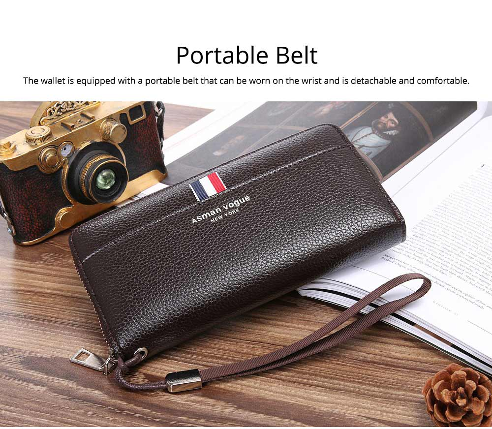 PU Leather Men Wallet, Fashion Litchi Grain Multifunction Long Clutch with Zipper, Multiple Cards Large Capacity Handbag 7