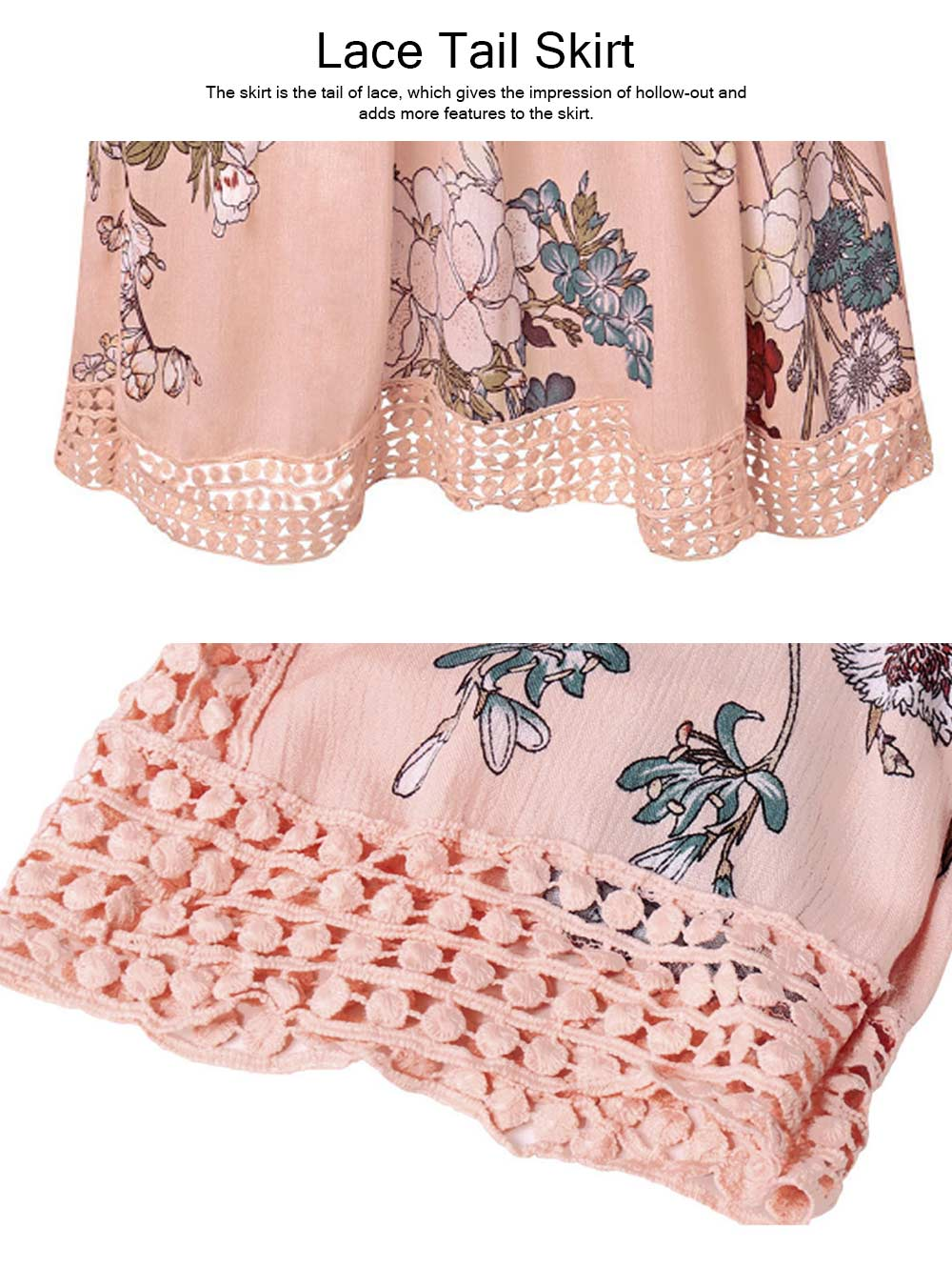 V Neck Women Dress, Breathable Short Dress with Lace Tail, Printing Pink Kilt, Women One-piece Dress Summer Pink 2019 2