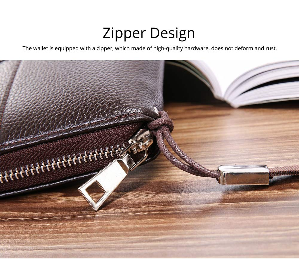 PU Leather Men Wallet, Fashion Litchi Grain Multifunction Long Clutch with Zipper, Multiple Cards Large Capacity Handbag 4