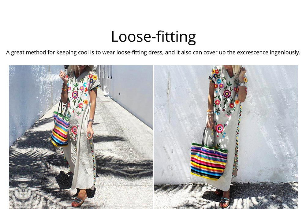 Polyester Women Dress with Retro Print, Tassel V-neck Bohemian Style Dress, Sexy Loose Full Length Dress 2019 Summer  5