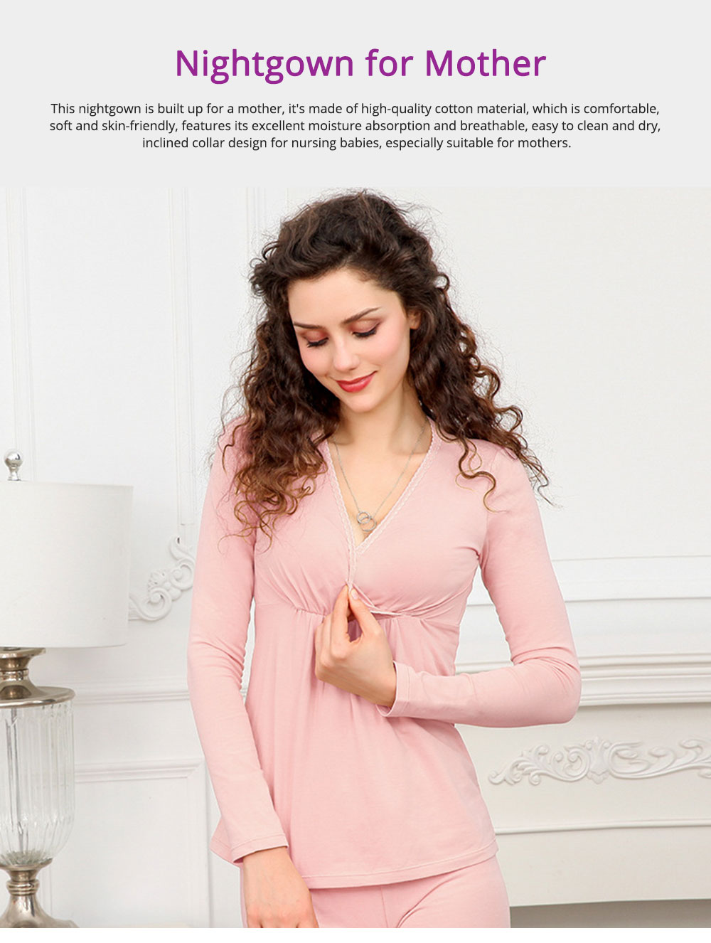 Women Nightgown, Cotton Material Breathable Inclined Collar Design Safe Confinement Suit Soft   Maternity Pajamas 0
