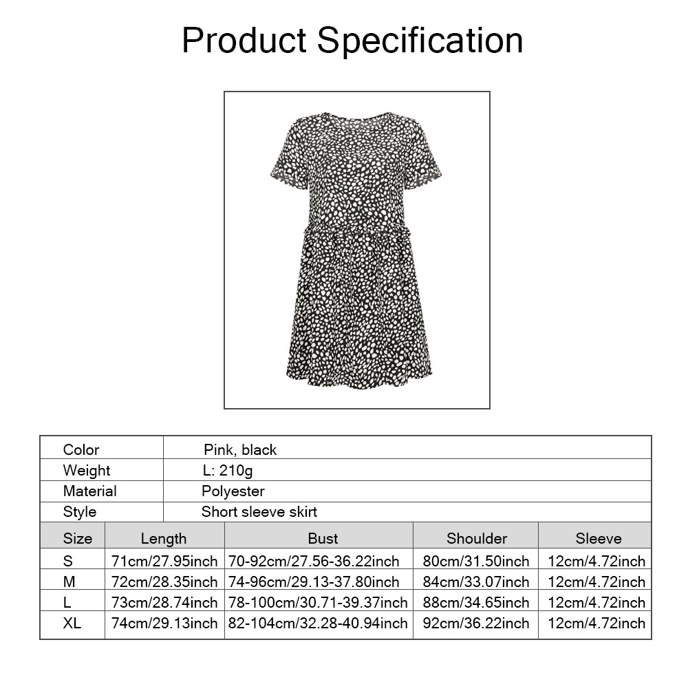 Polyester Material Lady Skirt, Soft One-piece Dress Round Collar Ruffle with Printing Kilt, Women One-piece Dress Summer 2019 8
