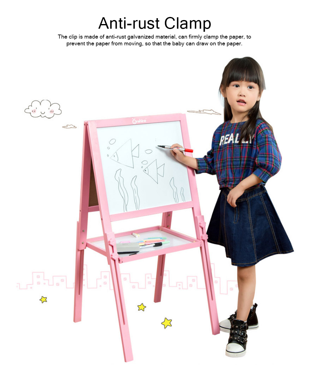 Wood PP Material Drawing Board with Safe Paint, Frosted Board Adjustable Holder Eraser Chalk Whiteboard Marker Palette for Children 5