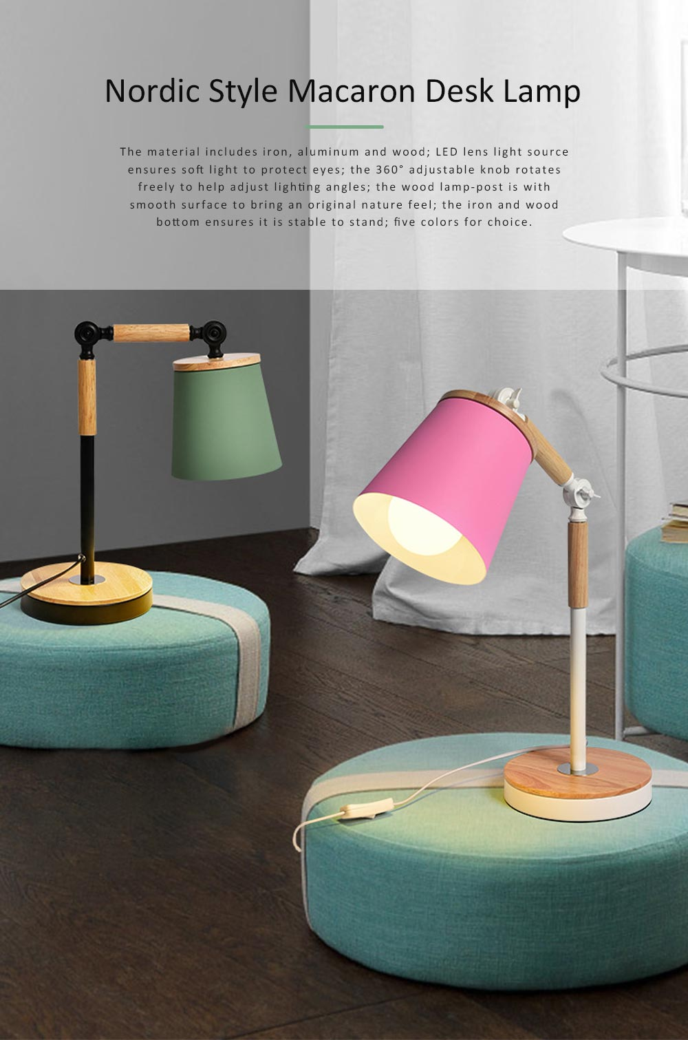 Nordic Style Desk Lamp, Macaron Desk LED Night Light with USB Charging Port, Office Essential Eye Protection LED Light 0