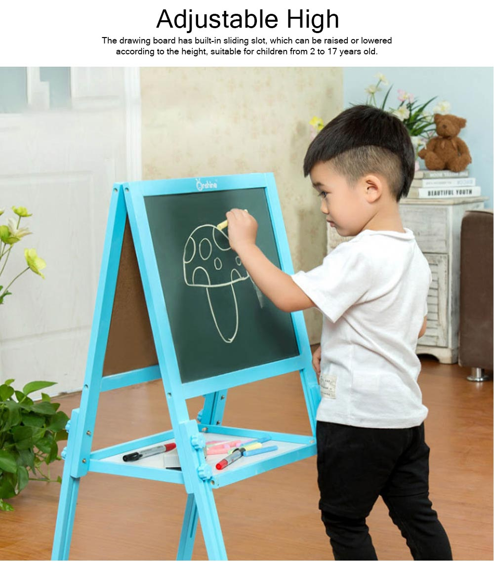 Wood PP Material Drawing Board with Safe Paint, Frosted Board Adjustable Holder Eraser Chalk Whiteboard Marker Palette for Children 4