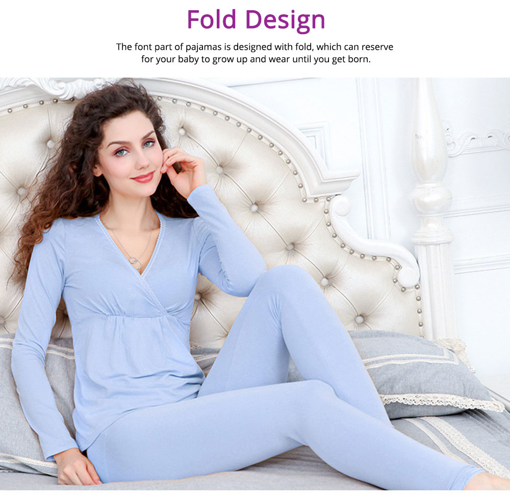 Women Nightgown, Cotton Material Breathable Inclined Collar Design Safe Confinement Suit Soft   Maternity Pajamas 5