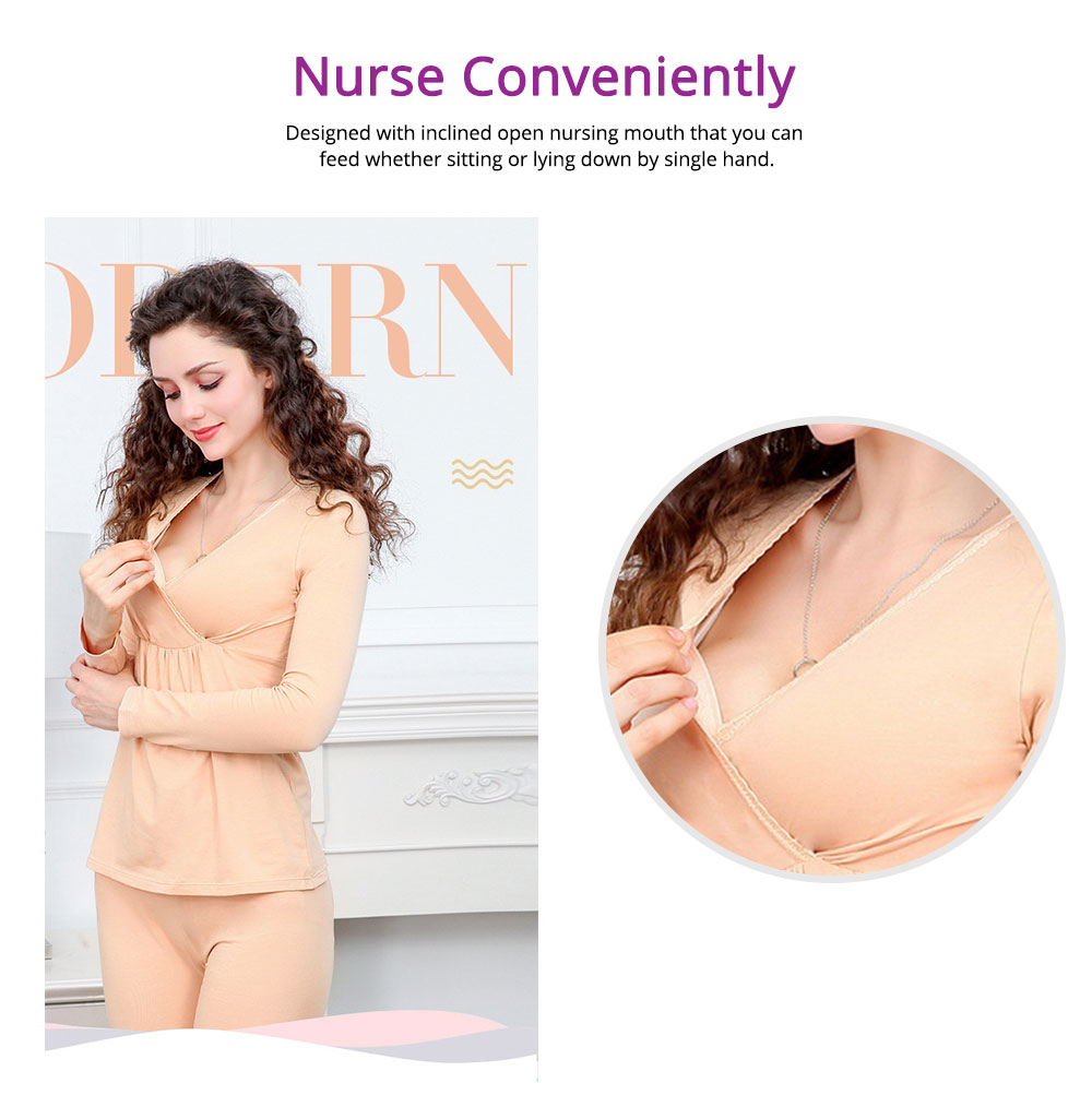 Women Nightgown, Cotton Material Breathable Inclined Collar Design Safe Confinement Suit Soft   Maternity Pajamas 4