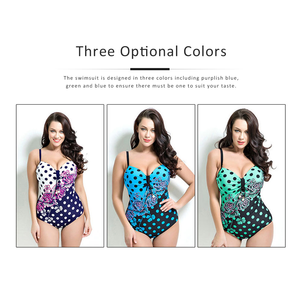 Dot Printed Swimsuit One-piece, Summer Essential Sexy Swimwear for Plump Women Bikini 2019 4