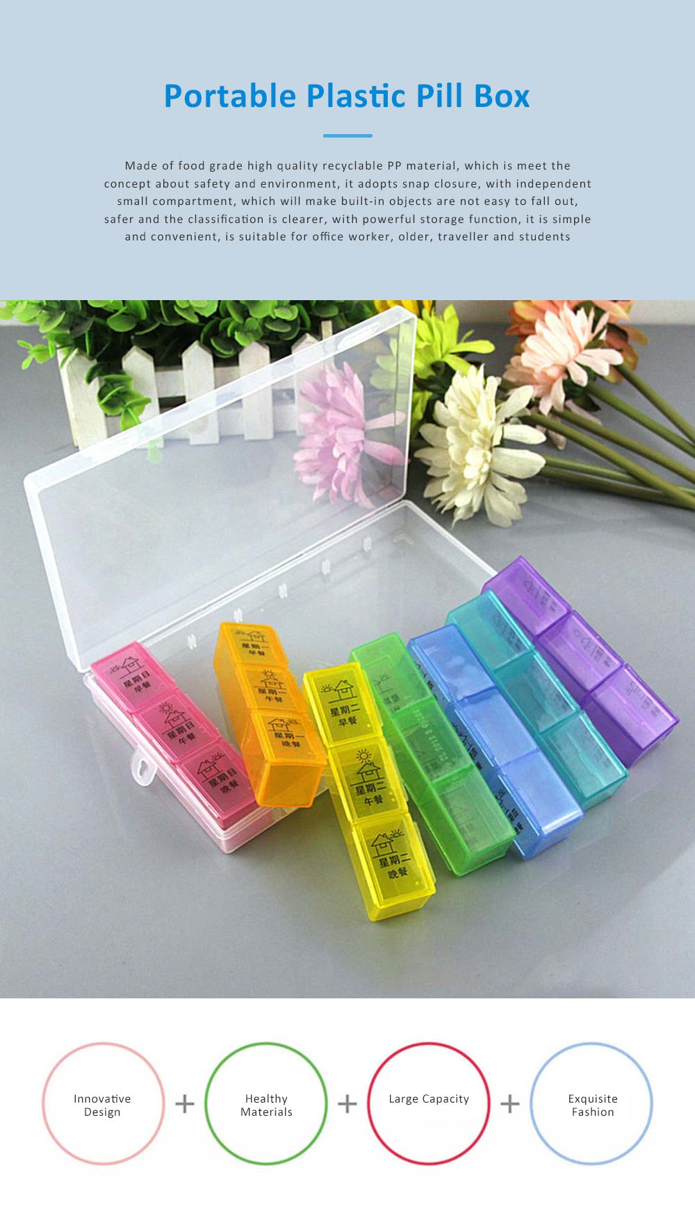 Monthly Pill Box Large-Capacity 21, 28 Compartments Portable Pill Case Monthly 7 Day Medicine Pill Organizer Box 0