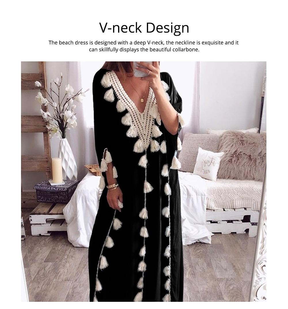 Women Long Beach Dress Large Size V-neck Fashion Tassel Loose Bohemian National Style Beach Dress Hot Sale 2019 2