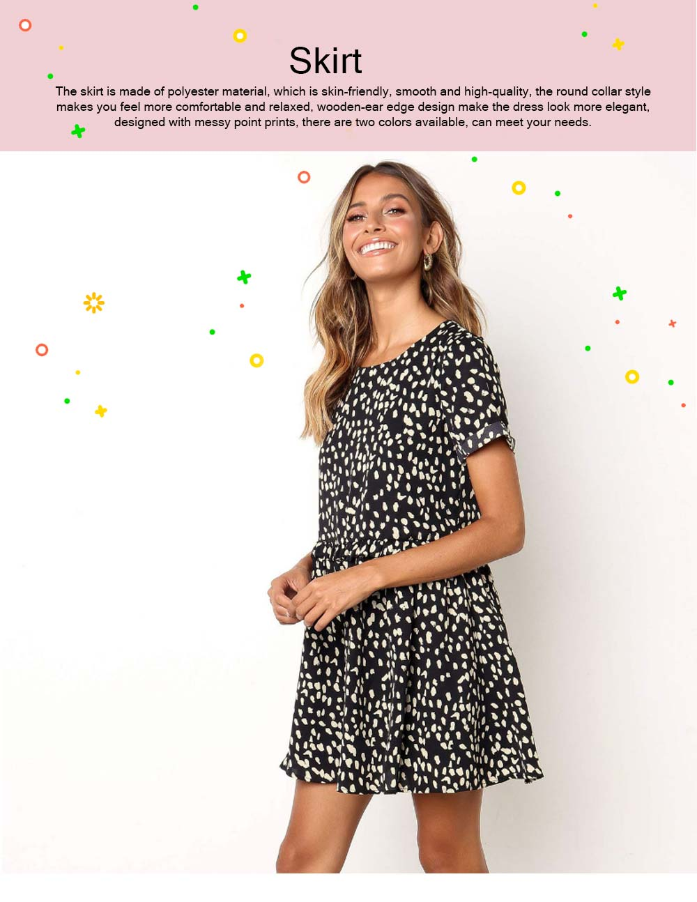 Polyester Material Lady Skirt, Soft One-piece Dress Round Collar Ruffle with Printing Kilt, Women One-piece Dress Summer 2019 0