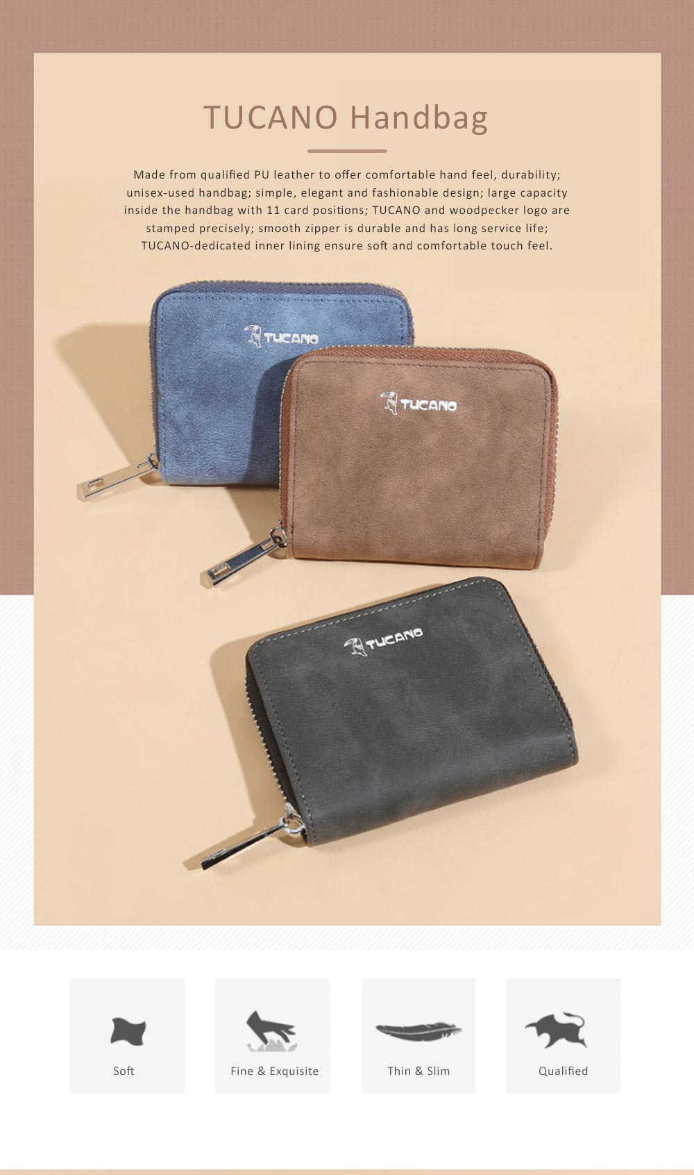 Mini PU Leather Purse, Short Purse with Zipper, Card Slots, Multifunctional Purse for Coins, Cash, Credit Cards 0