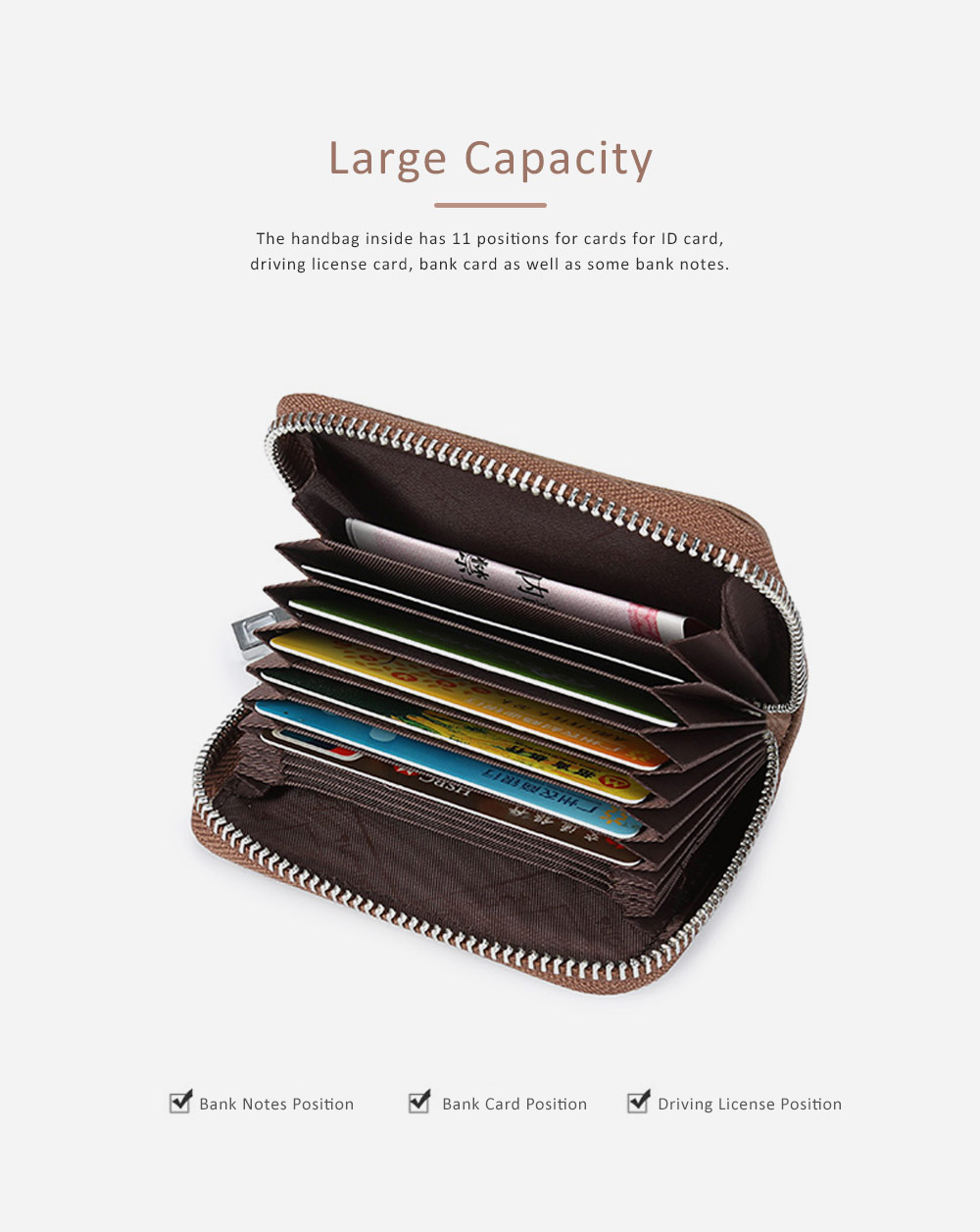 Mini PU Leather Purse, Short Purse with Zipper, Card Slots, Multifunctional Purse for Coins, Cash, Credit Cards 3