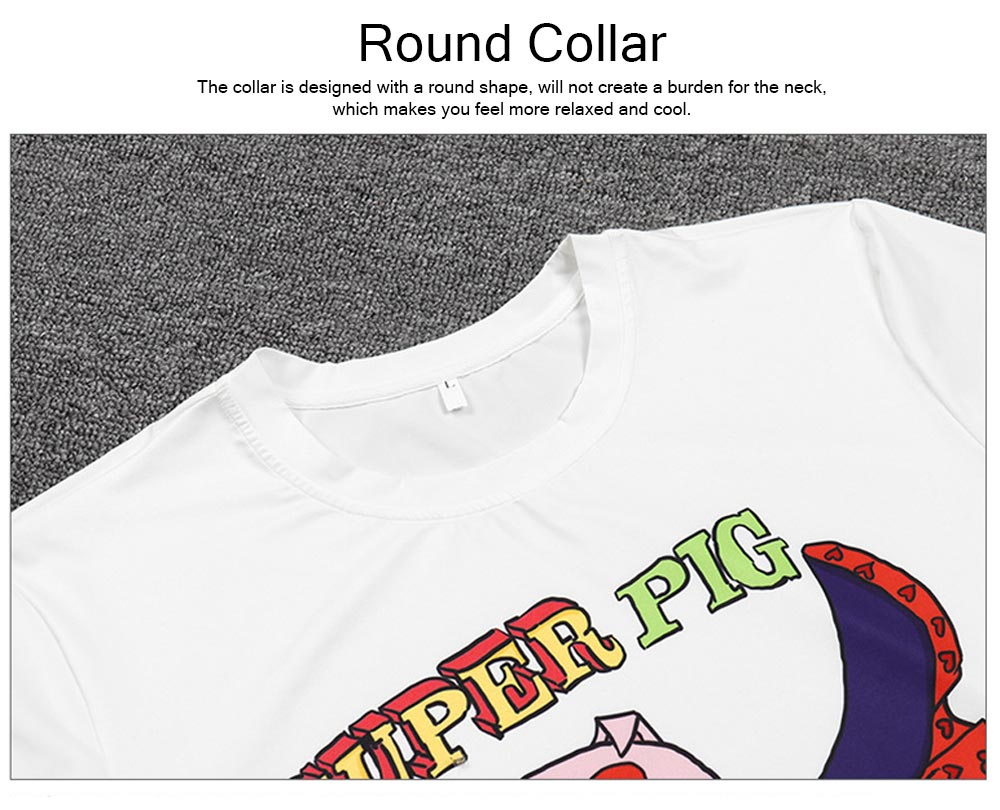 Polyester Spandex Material Male T-shirt with Supper Pig Pattern, Cotta Round Collar Fashionable Short Sleeve Shirt for Men 4