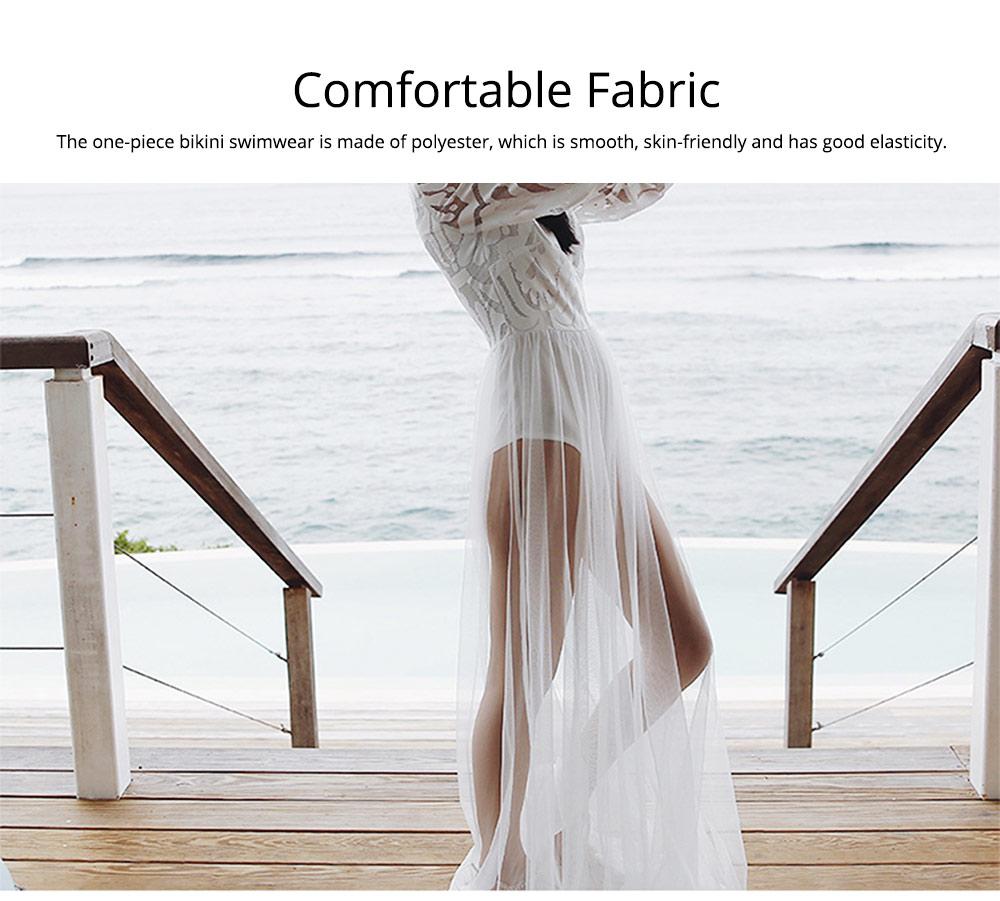 Women Lace Mesh Dress for Beach Holiday, Stylish White Floor-length Fashion Bikini Swimwear Two-piece Dress Skirt 1