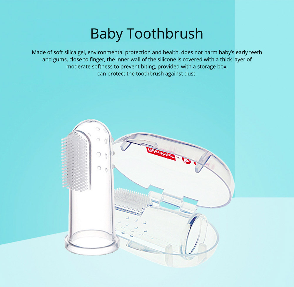 Baby Teeth Cleaner Finger, Soft Silicone Toothbrush for 0-2-3 Years Old Infant Dental Health Finger Tooth Brush Rubber with Storage Box 0