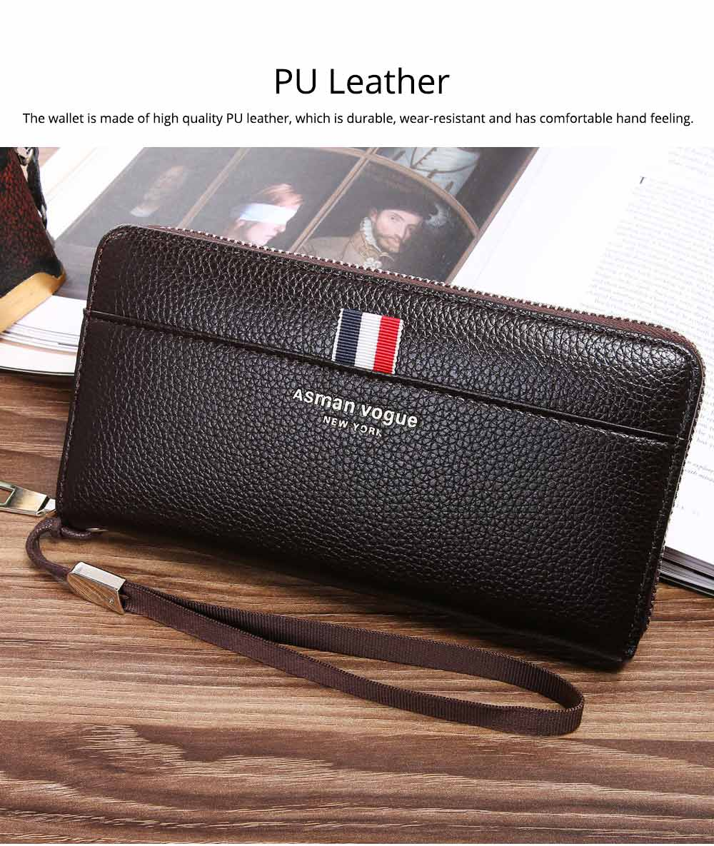 PU Leather Men Wallet, Fashion Litchi Grain Multifunction Long Clutch with Zipper, Multiple Cards Large Capacity Handbag 1
