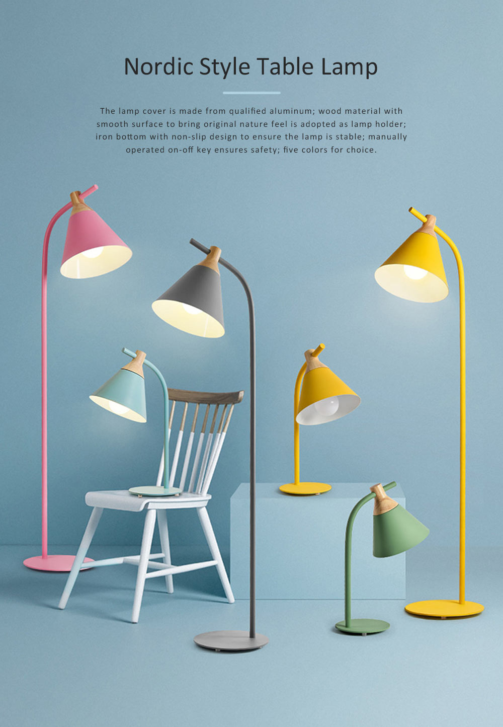 Nordic Style Table Lamp, Macaron LED Light for Office, Home, Eye Protection Working Essential LED Night Light 0