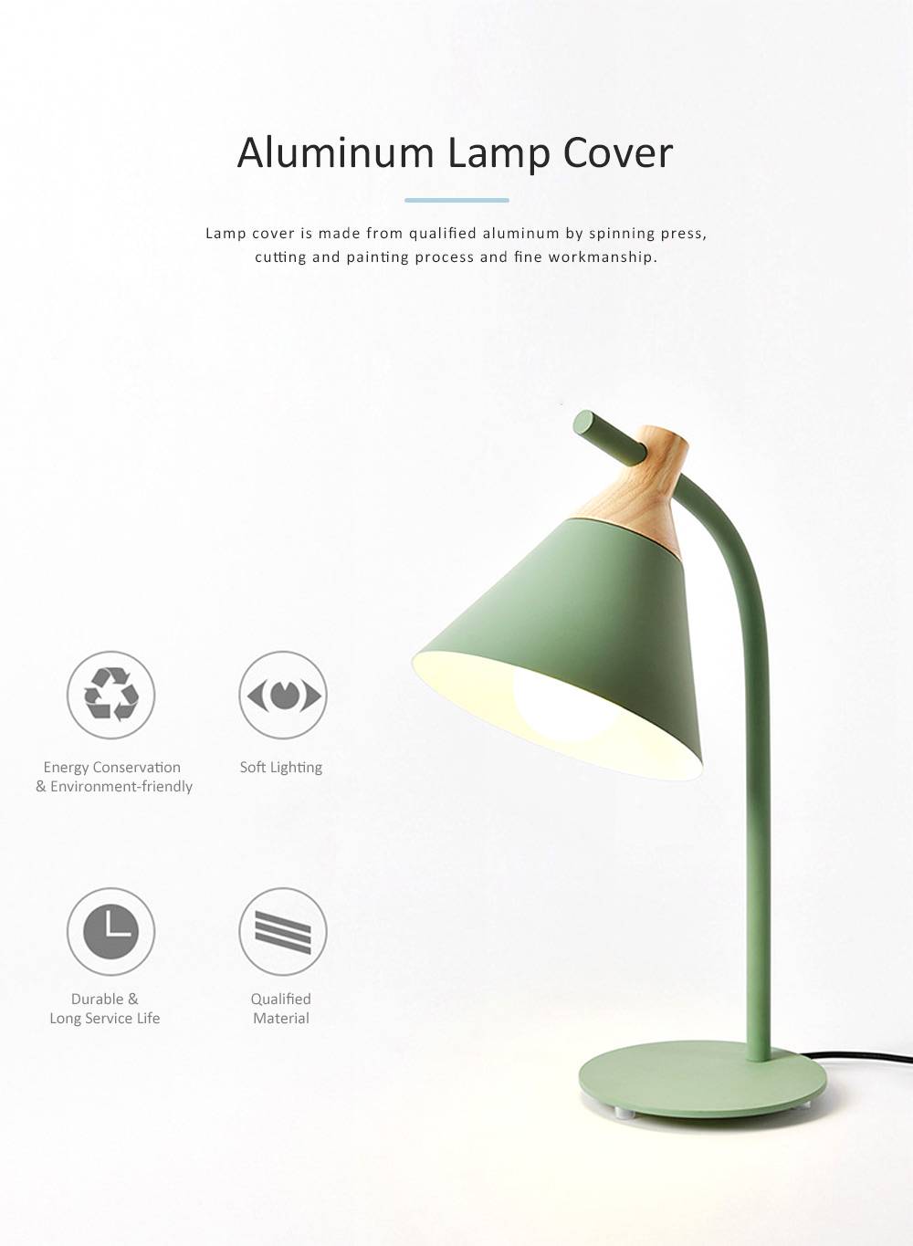 Nordic Style Table Lamp, Macaron LED Light for Office, Home, Eye Protection Working Essential LED Night Light 2