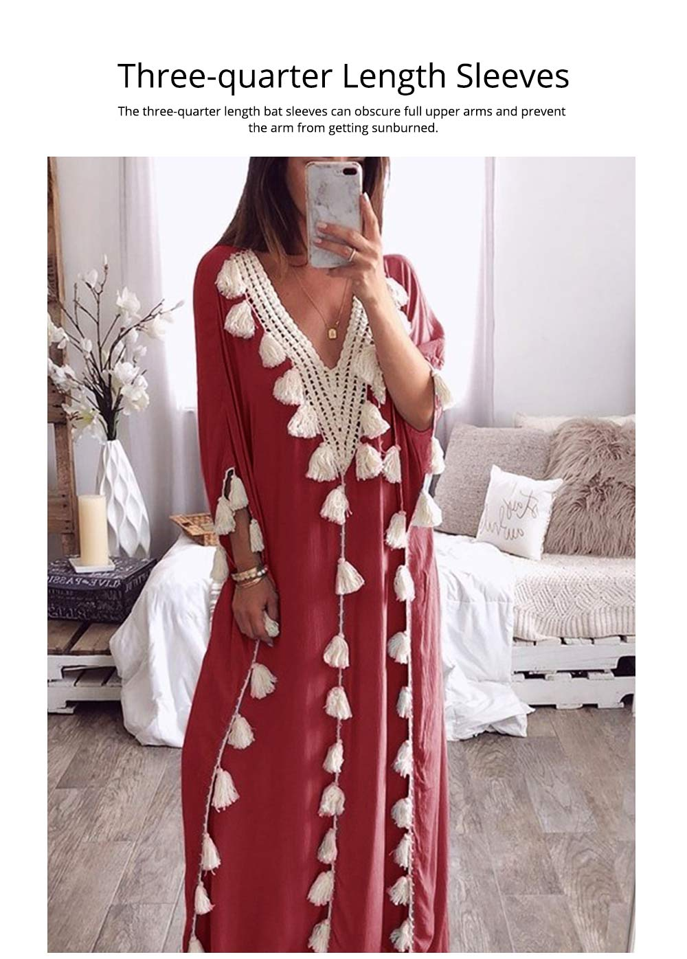 Women Long Beach Dress Large Size V-neck Fashion Tassel Loose Bohemian National Style Beach Dress Hot Sale 2019 4