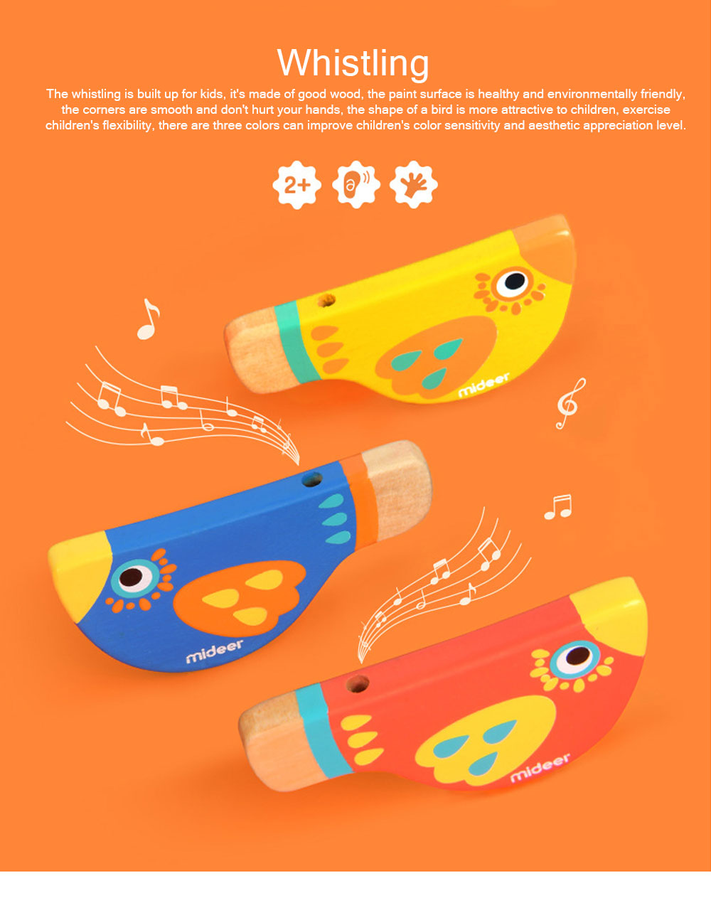 Wood Bird Shape Whistle with Colorful Healthy Paint, Play Toys for Children More than 2 Years, Smooth Corners Educational Toy 0