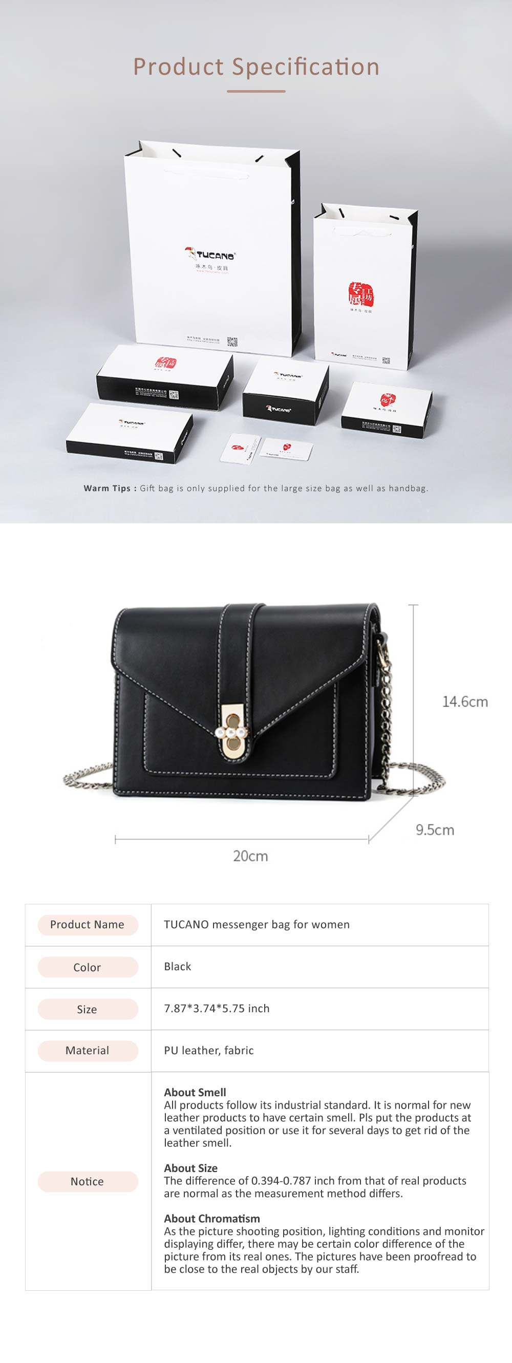 TUCANO Messenger Bag for Women Messenger Bag with Chain Strap Single-shoulder Bag 2019 7