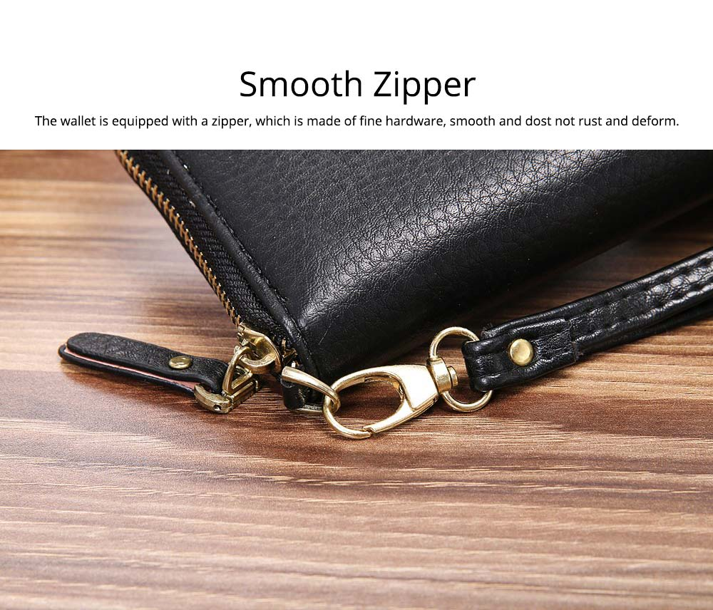 PU Leather Wallet for Men Youth, Soft Leather Casual Simple Europe Style Clutch with Zipper, ID Card Holder, Long Clutch Handbag 3