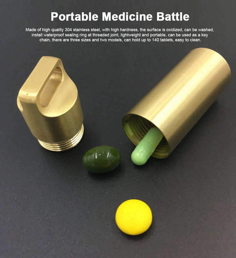Portable Steel Waterproof Pill Capsule Bottle Drug Holder Container Keychain
