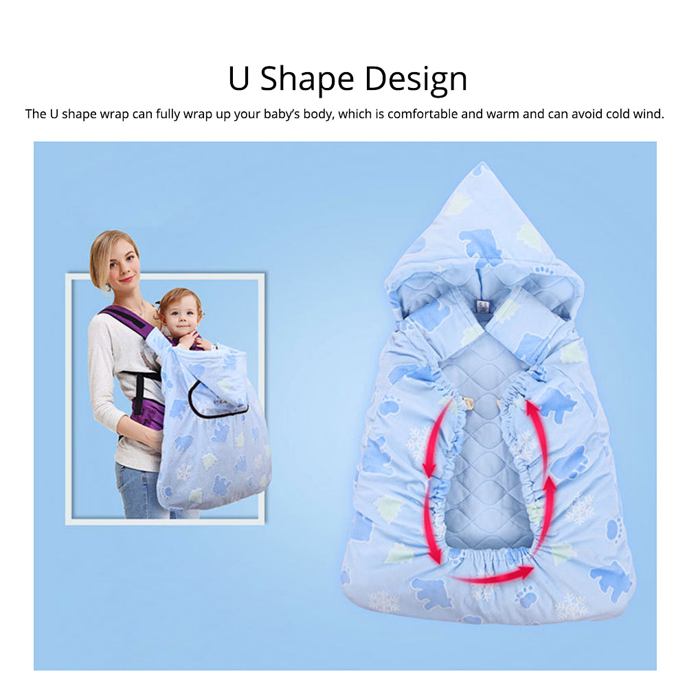 Newborn Baby Carrier Cloak Windproof Warm Hip Seat Back Strap with Triangle Hat for Infant 2