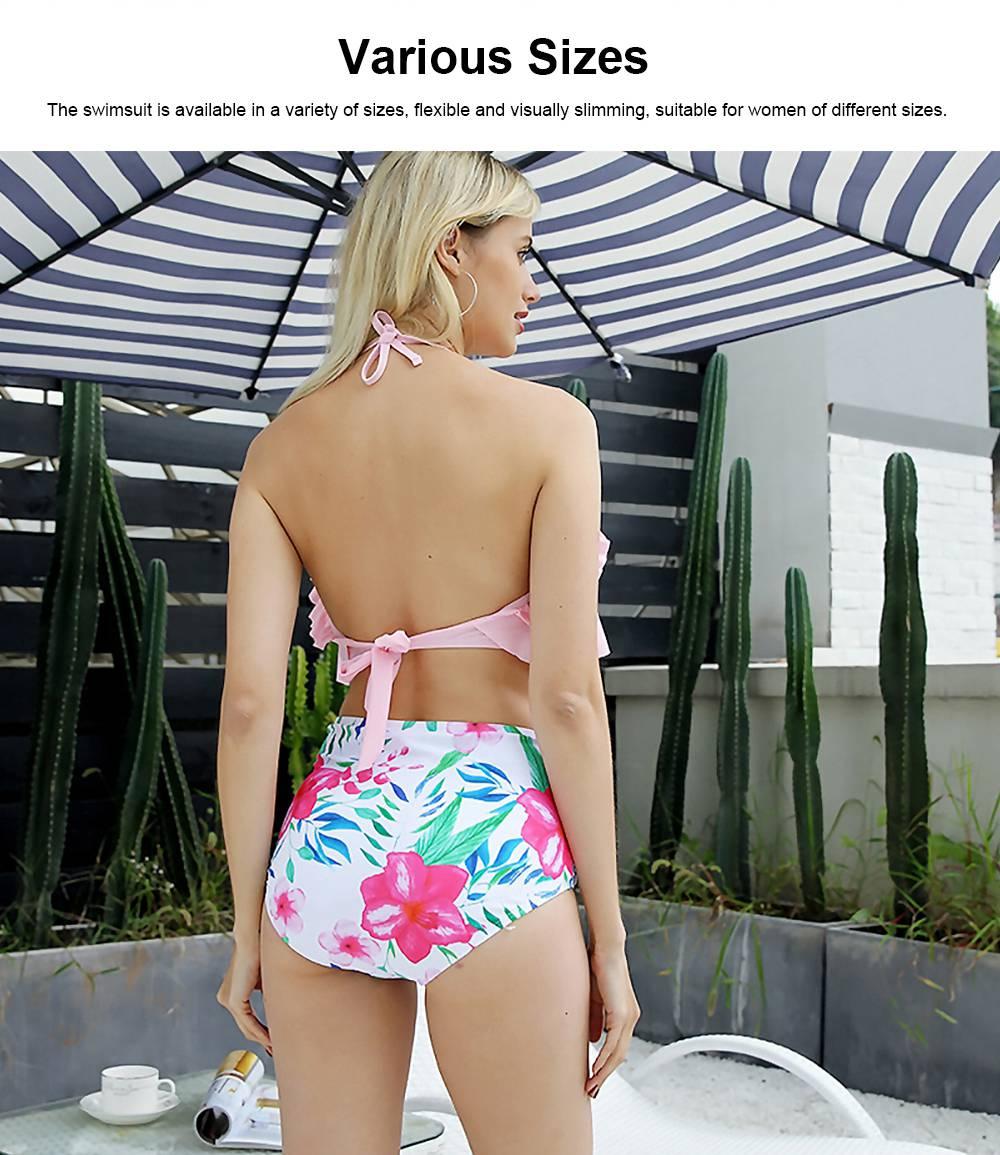 Lotus Leaf Chest Swimsuit, Separated Type Halterneck Swimwear for Summer, Flower Printed Women Bikini 5
