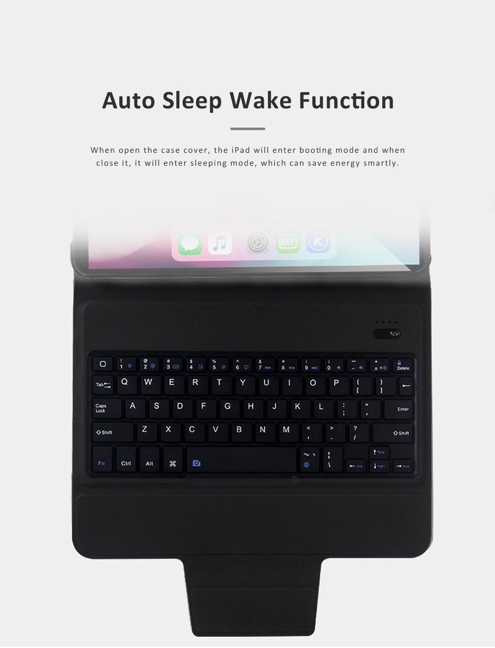 Ultra Thin Bluetooth Keyboard Case for iPad Pro 11 inches 2018, iPad Case with ABS Waterproof Keyboard for Apple iPad Pro 11 2