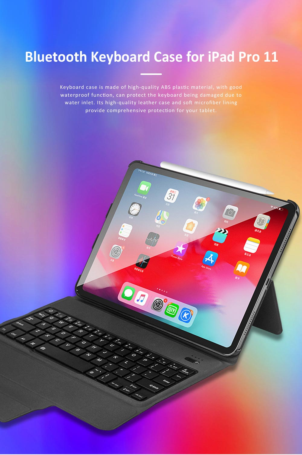 Ultra Thin Bluetooth Keyboard Case for iPad Pro 11 inches 2018, iPad Case with ABS Waterproof Keyboard for Apple iPad Pro 11 0