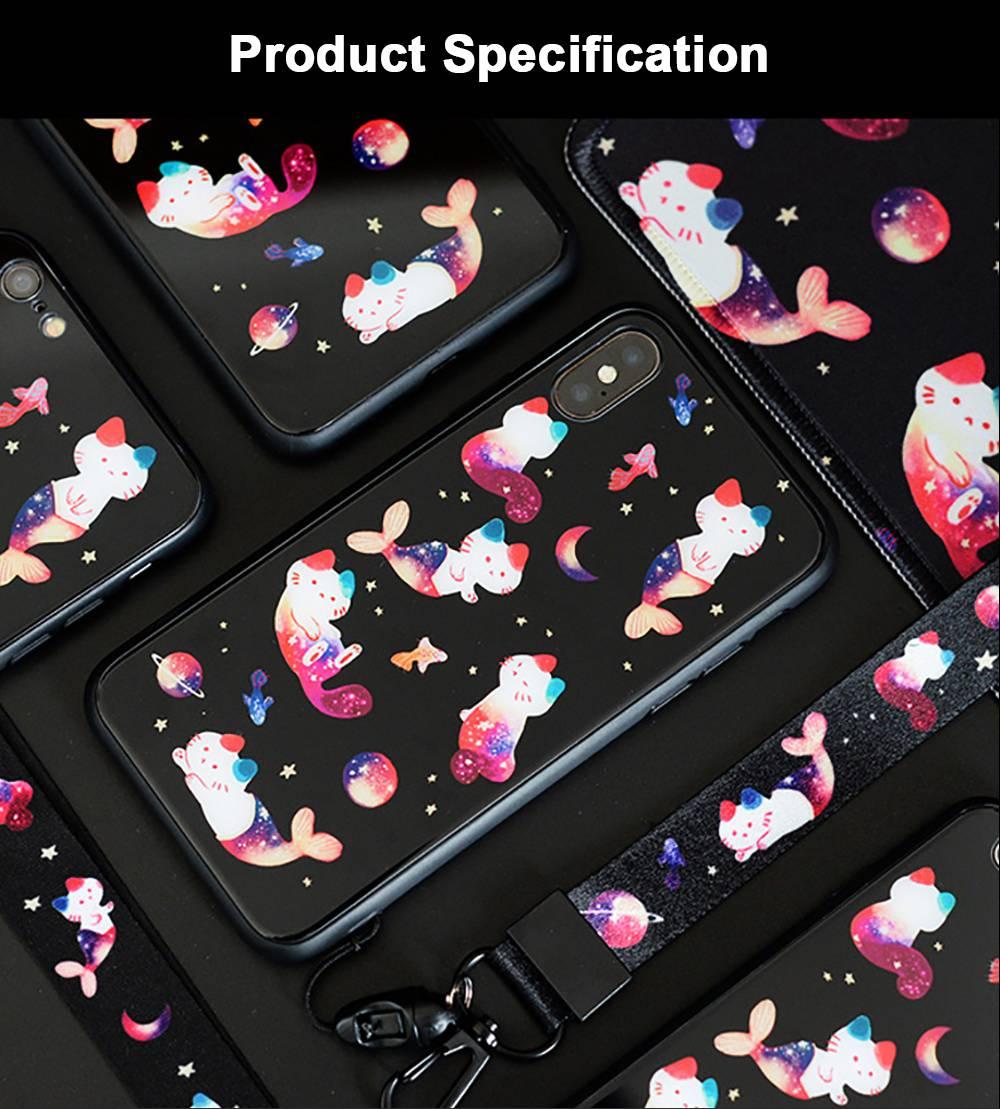 Mobile Phone Case Full-hemmed Fish Cat Starry Sky Smart Phone Back Cover Shell for Apple iphone X, 6s, 7plus, 8, OPPO R11 6