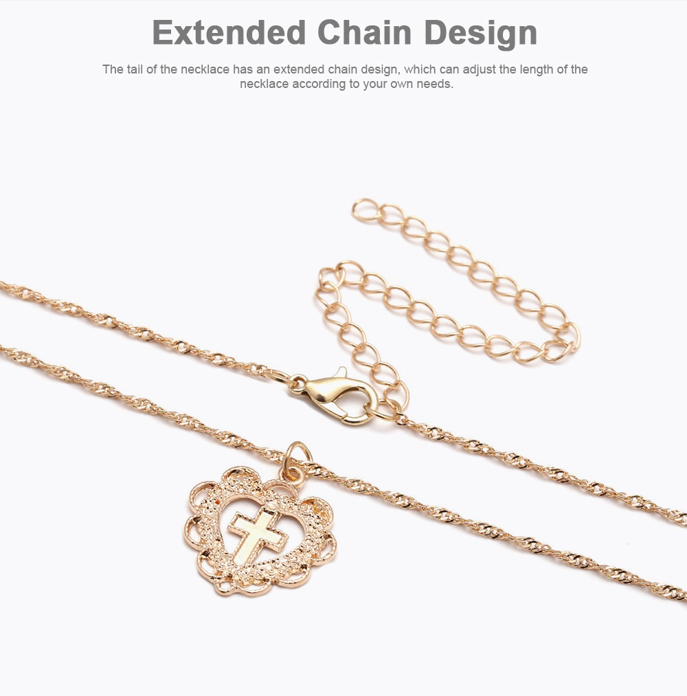 Personality Heart Shape Necklace Pendant, Alloy Retro Simple All-match Cross Pendant Diamond Encrusted Jewelry 2019 3