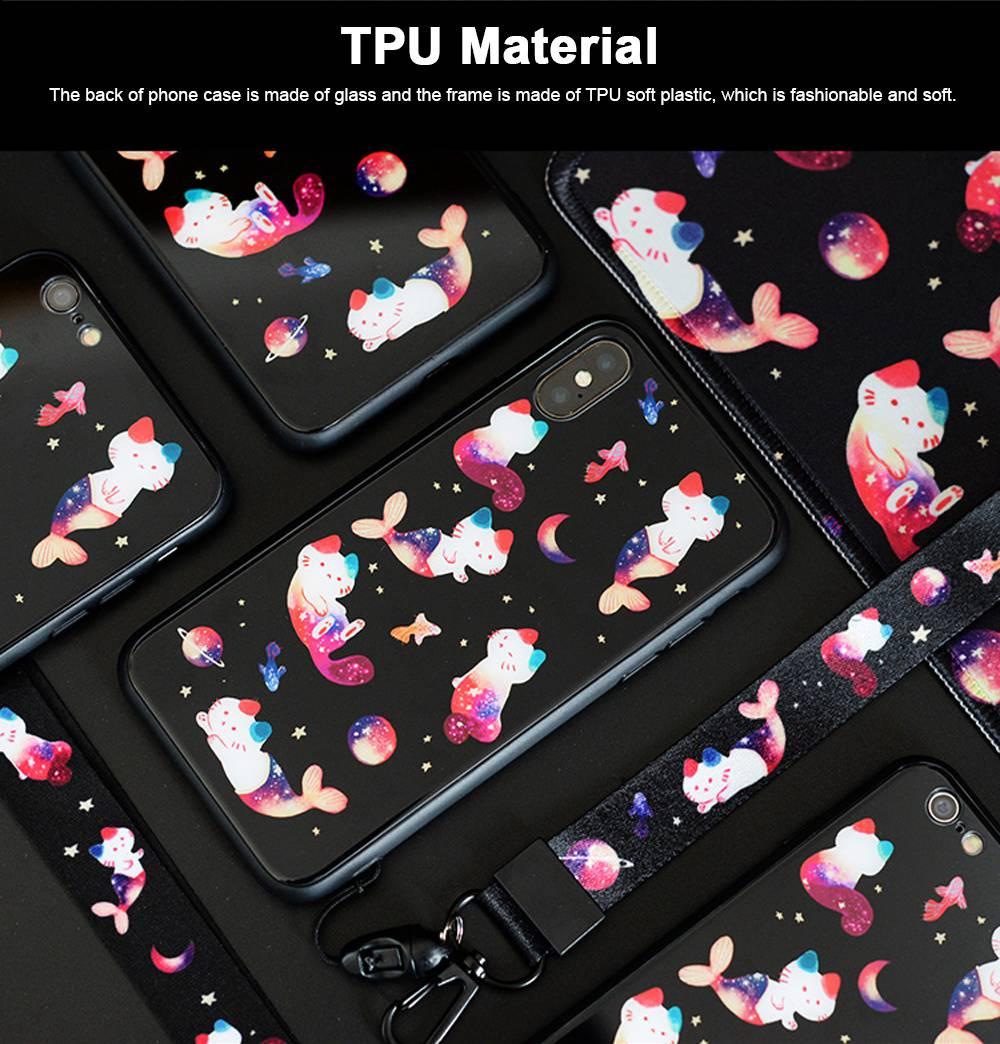 Mobile Phone Case Full-hemmed Fish Cat Starry Sky Smart Phone Back Cover Shell for Apple iphone X, 6s, 7plus, 8, OPPO R11 2