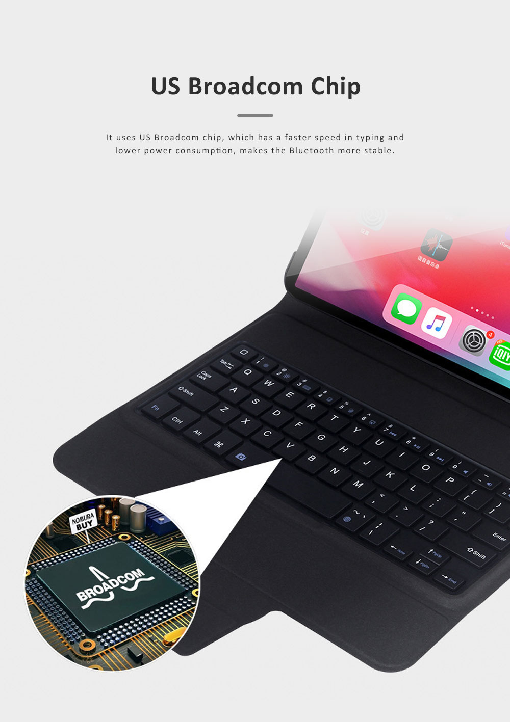 Ultra Thin Bluetooth Keyboard Case for iPad Pro 11 inches 2018, iPad Case with ABS Waterproof Keyboard for Apple iPad Pro 11 4