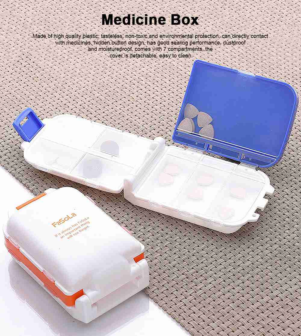 Mini Medicine Box Plastic Creativity 7 Compartments Portable Large Capacity Pill Box for Travel Outdoor Tablet Container 0