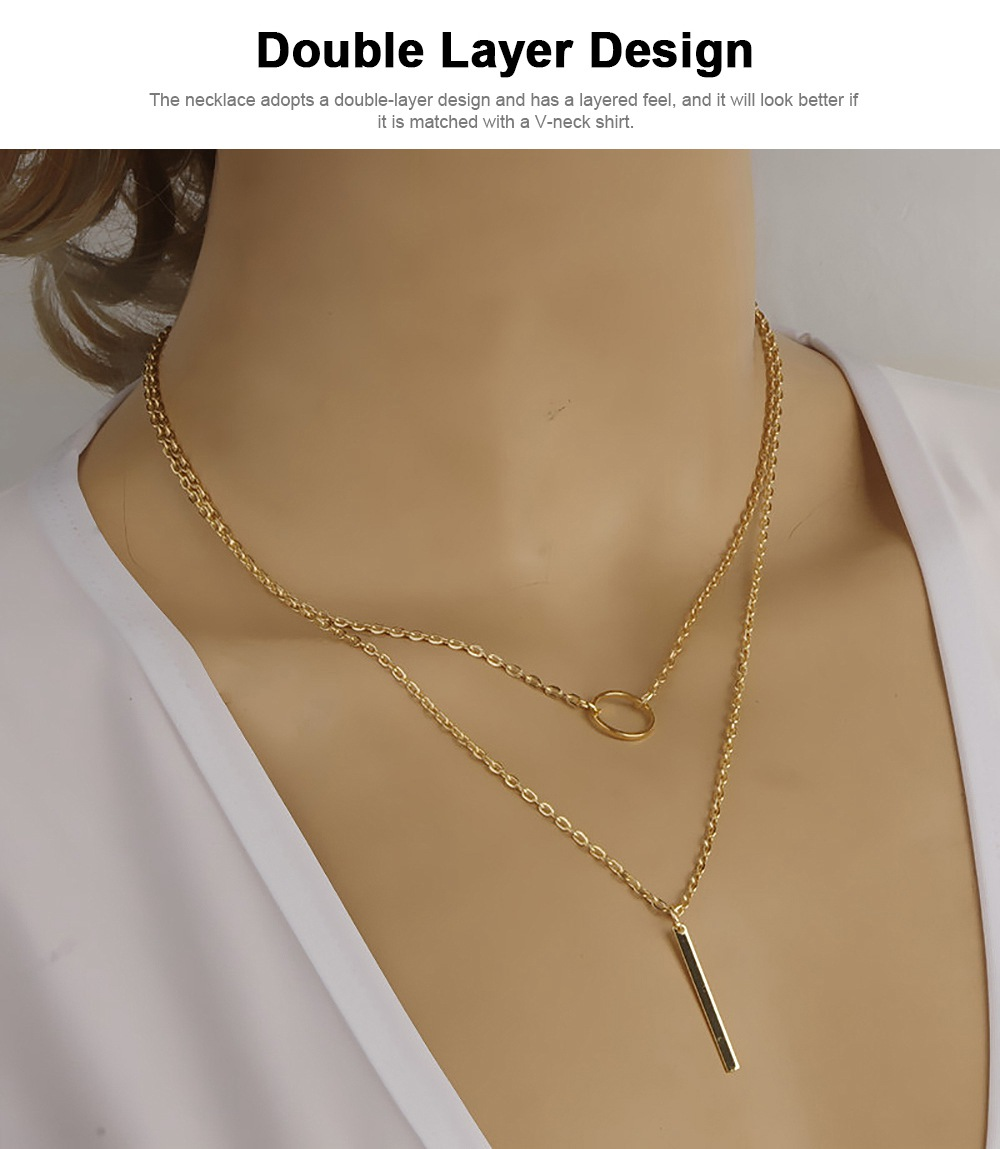 Fashion Women Necklace Jewelry, Metal Ring Simple Metal Strip Tassels Double Layer Necklace Chain Pendant Necklace 5