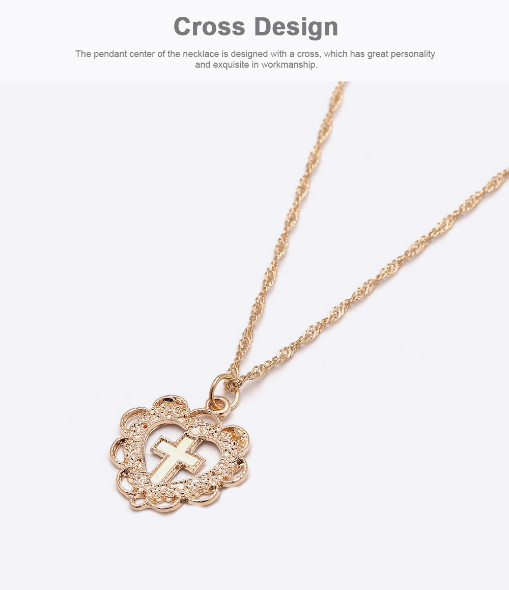 Personality Heart Shape Necklace Pendant, Alloy Retro Simple All-match Cross Pendant Diamond Encrusted Jewelry 2019 2
