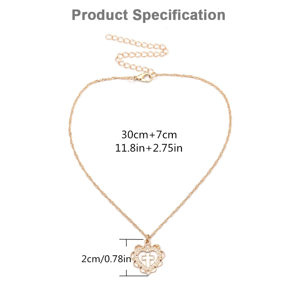 Personality Heart Shape Necklace Pendant, Alloy Retro Simple All-match Cross Pendant Diamond Encrusted Jewelry 2019 7