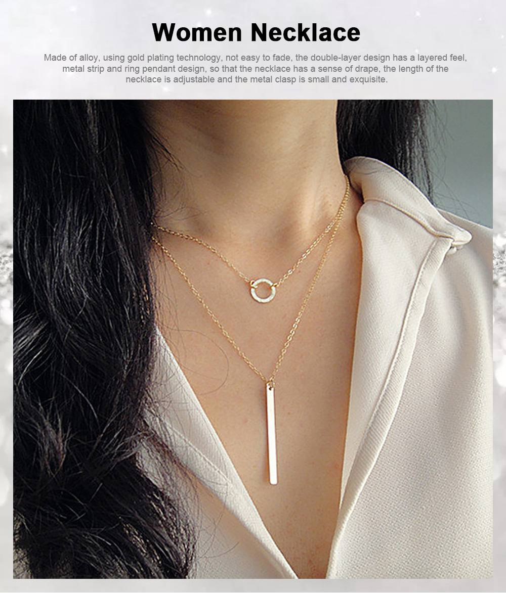 Fashion Women Necklace Jewelry, Metal Ring Simple Metal Strip Tassels Double Layer Necklace Chain Pendant Necklace 0
