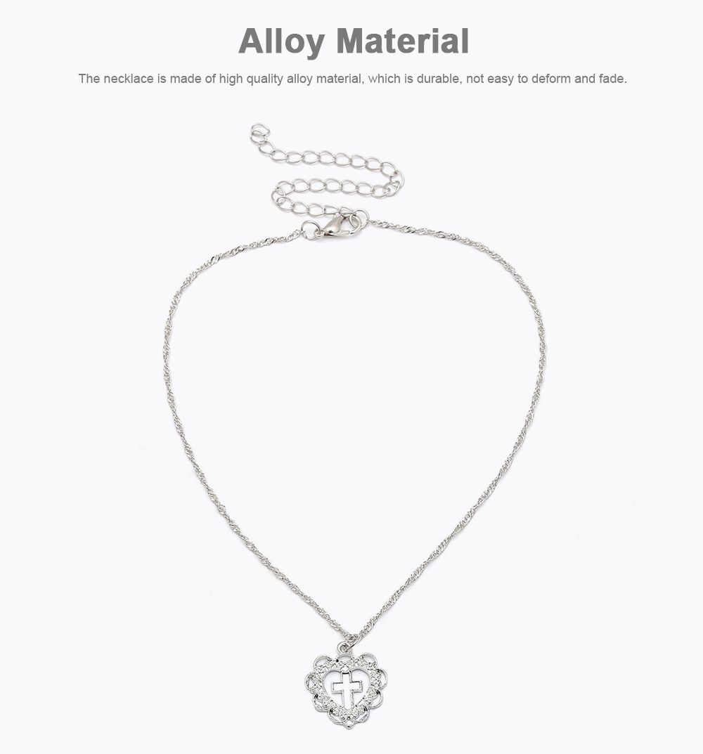 Personality Heart Shape Necklace Pendant, Alloy Retro Simple All-match Cross Pendant Diamond Encrusted Jewelry 2019 1