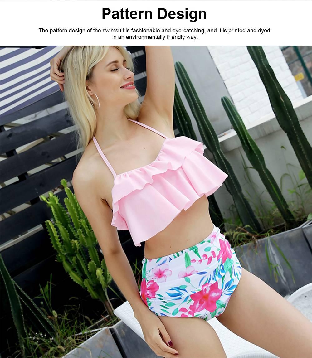 Lotus Leaf Chest Swimsuit, Separated Type Halterneck Swimwear for Summer, Flower Printed Women Bikini 4