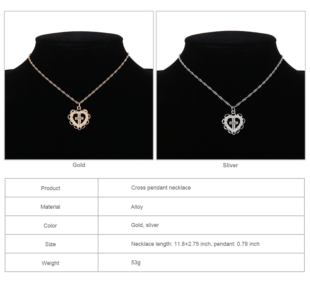 Personality Heart Shape Necklace Pendant, Alloy Retro Simple All-match Cross Pendant Diamond Encrusted Jewelry 2019 8
