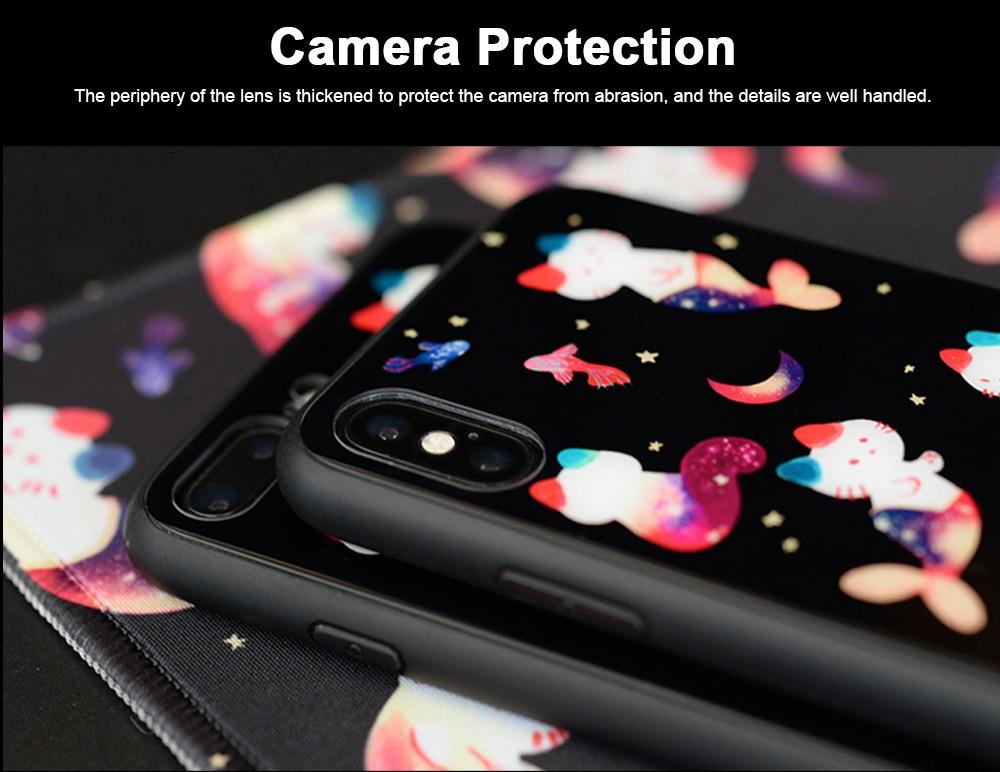 Mobile Phone Case Full-hemmed Fish Cat Starry Sky Smart Phone Back Cover Shell for Apple iphone X, 6s, 7plus, 8, OPPO R11 4