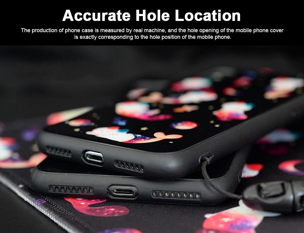 Mobile Phone Case Full-hemmed Fish Cat Starry Sky Smart Phone Back Cover Shell for Apple iphone X, 6s, 7plus, 8, OPPO R11 3